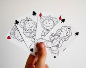 Four Queens - hand drawn playing cards