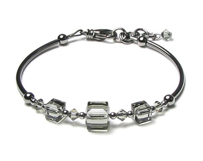 Black Diamond Swarovski Crystal Gunmetal Grey Adjustable Bracelet, Grey Crystal Bracelet, Charcoal Gray Jewelry, Modern Minimalist Jewelry