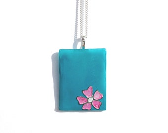 Glass Pendant in Turquoise with a Pink Flower, Hand Painted Glass Necklace, Turquoise Glass Necklace, Glass Jewelry