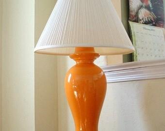 Vintage Orange Glaze Ginger Jar Lamp Hollywood Regency Table Lamp