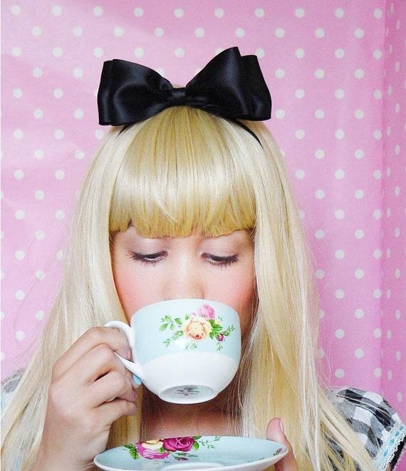 Alice in Wonderland Bow Womens Alice in Wonderland Headband Girls Alice in Wonderland Halloween Costume Baby Alice in Wonderland Hair Bow