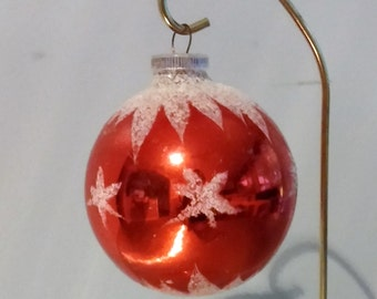 Large Vintage Christmas Ornament Red and White Mica Stars Blown Glass West Germany FREE SHIPPIING - order of  3 or more Christmas  listings