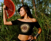 Sun Goddess Mandala Off Shoulder Top