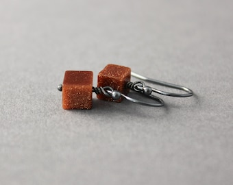 glittery earrings goldstone earrings dangle earrings brown goldstone cube earrings oxidized sterling silver small dangle earrings