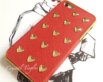Stunning Unique Heart Shape Metal Studs Synthetic Leather Case Gold or Silver Frame iPhone SE 5S Cover Case or any other models