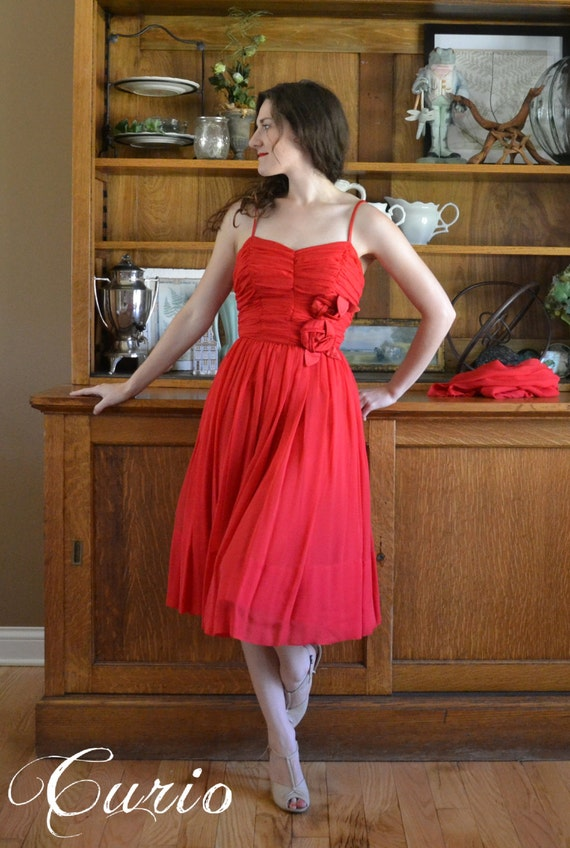 Red 50's Party Dress with Rose Corsage Vintage / Silk Chiffon