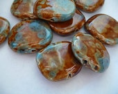 Porcelain beads, big, focal, hand made, glaze, shinny, blue, brown turquoise, 3 pcs