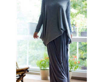 Long Jersey Skirt / Removable Belt / Handmade Long Skirt / Dark Grey Italian Cotton