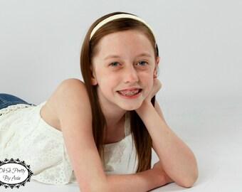 Ivory Headband - Off White Headband - Hard Headband - Plastic Headband - Ribbon Woven Headband - Child Toddler Teenager Adult Headband