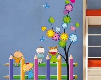 Kids School Fence Playing Nature Children - Full Color Wall Decal Vinyl Decor Art Sticker Removable Mural Modern B116