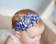 Royal Blue Black White Chevron Stripe Print Shabby Flower Headband - Photo Prop - Newborn Infant Baby Child Girls Hair Bow - Nautical Color