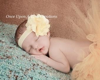 Pale Yellow Satin Fabric Flower Blossom Poof Headband - Spring  Summer Photo Prop - Newborn Baby - Little Girls Hair Bow - Baby Shower Gift