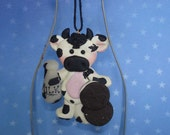 Dairy Cow Christmas Ornament Holstein Farm Chocolate Cookie Milk Bottle Polymer Clay Metal Cookie Cutter Milestone Cake Top Cattle Farmer