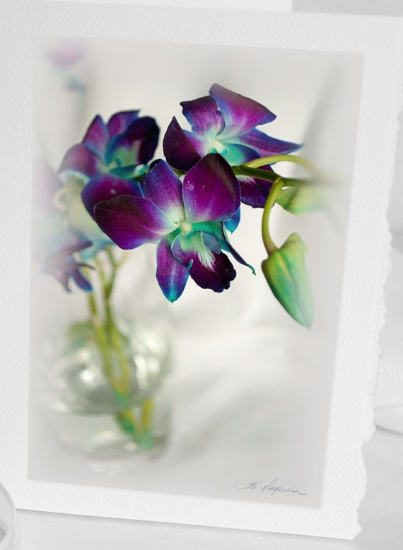 Photo Greeting CARD, Blank Notecard, Purple blue Orchids Birthday Anniversary Sympathy Photograph Turquoise as iPhone Samsung case, mother