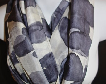 "Smokey Gray Clouds SILK SCARF for Women.  Hand Painted Silk Scarf by NYC artist Joan Reese / 100% Silk/""One of a kind"""
