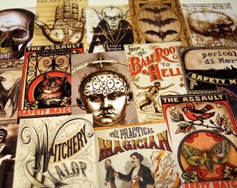 15 pcs. MACABRE LABELS - Reproduction Vintage Labels, Halloween Anatomy, Phrenology, Occult, Vampires & Skulls, Sticker Pack, Ephemera Pack