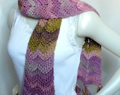 Extra Long Chevron Scarf, Crochet Ripple Scarf, Hand Made Scarf with Fringe, Striped Scarf Orchid Ombres, Winter Scarf, Ready to Ship