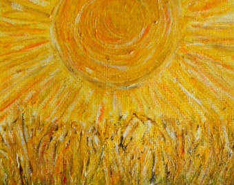 Oil Painting-Sun-Hand Painter-Original Painting-Gift Idea-Yellow Sun-Home Decor-Fall Harvest-Fine Art-Painting