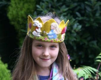 Birthday Crown - Waldorf Crown - Alice in Wonderland  - Custom Birthday Crown -  Plant Dyed Fleece and Merino - Needle Felted - Wool Felt