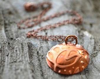 Copper Pendant Necklace, Floral Pattern Necklace, Recycled Metal Jewelry, Tulip Necklace, Embossed Metal Jewelry, Customizable Jewelry