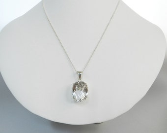 Maid of Honor Gift, Quartz Crystal Pendant, Big Crystal Necklace, Oval Crystal Drop