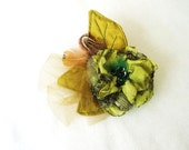 Woodland Boho Rustic Wedding Flower Fascinator Feather Flower Hair Clip Green Brown Mix by Fairytale Flower