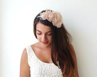 Weddings Hair Accessories Chic Champagne Headpiece Organza Flower Bridal Hair Piece Bridal Hair Accessories Bridesmaid Hair Flower Girl hair