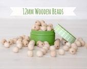 """12MM Wooden Beads - 50 Round Wooden Beads - 12MM Wooden Balls (1/2"""") - Unfinished Wooden Beads - 12mm Wood Balls in Muslin Bag - DIY Crafts"""