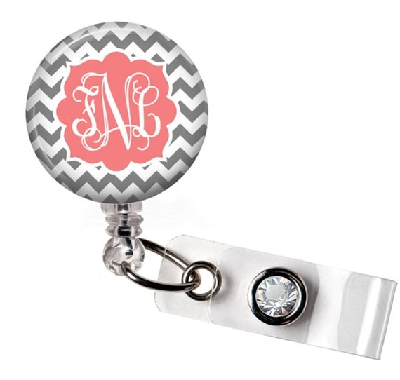 Retractable ID Badge Reel - Personalized Gray and Coral Chevron Monogram Reel Badge ID - Nurse Badge Reel - 0197