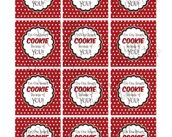Gift Tags, Cupcake Topper Circles Set of 12- I'm One Smart Cookie Because of YOU! Printable