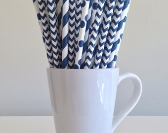 Navy Paper Straws Navy Blue Striped, Chevron, Polka Dot Party Supplies Party Decor Bar Cart Accessories Cake Pop Sticks Graduation Party