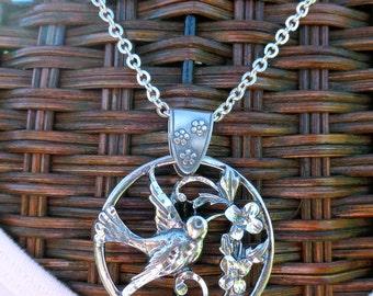 Sterling Silver Necklace, Bird Necklace, Sterling Silver Hummingbird, Bird Pendant, Handmade Sterling Silver Hummingbird Pendant Necklace