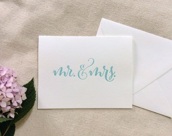 Letterpress Greeting Card - mr and mrs - congratulations - wedding