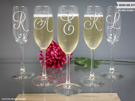 personalized monogram toasting flute bridesmaid gift one custom