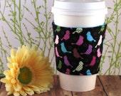 Fabric Cofee Cozy / Patterned Birdies Coffee Cozy / Bird Coffee Cozy / Birds / Animal Coffee Cozy / Coffee Cozy / Tea Cozy