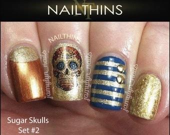 SUGAR SKULL #2 Nail Decal Skull Floral and Cross Nail Art  Nail Designs NAILTHINS