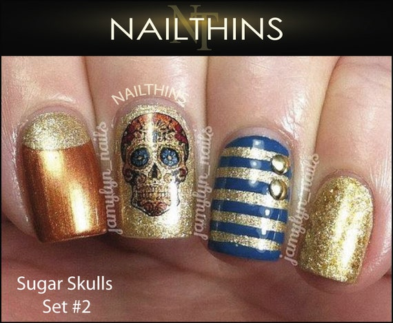 Sugar skull 2 nail decal skull floral and cross nail art like this item prinsesfo Image collections