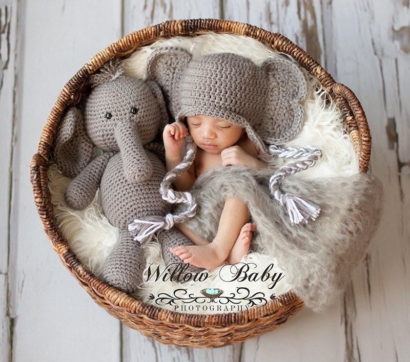 Crochet Stuffed Elephant And Elephant Hat Set By