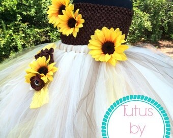 Fall Sunflower Flower Girl Dress and Headband