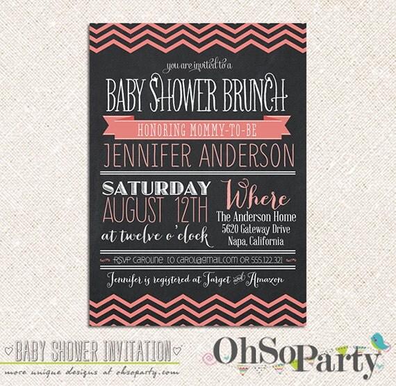 baby chevron custom baby shower brunch invitation card