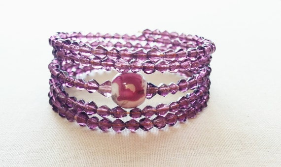 Lavender Wrap Bracelet; Purple Flower; Orchid
