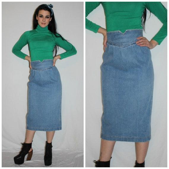 vintage 80s high waisted pencil denim skirt