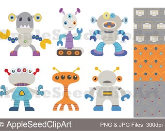 Robots Digital Clip Art, Aliens Digital Clip Art, Instant Download