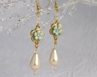 Bridal Teardrop Pearl Earrings, Bridesmaids Jewelry, Swarovski AB Crystals, White or Ivory Pearls, Beautiful Enameled Aqua Flowers, Wedding