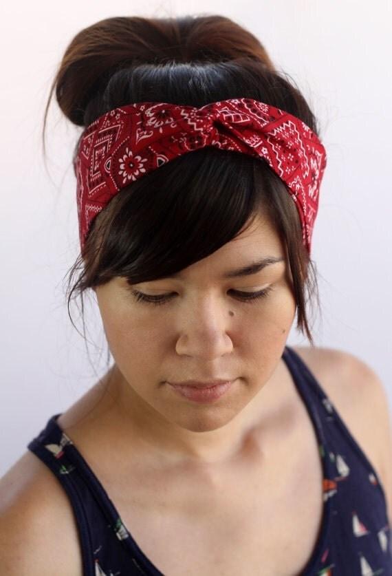 Red Bandana Turban Headband Rosie The Riveter Halloween