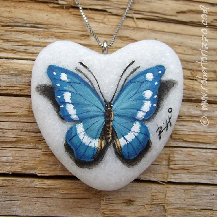 Heart Shaped Blue Butterfly Pendant Hand Painted Jewels