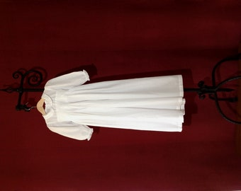 Elaborately hand embroidered and smocked christening gown with long sleeves - in french vintage design - heirloom quality
