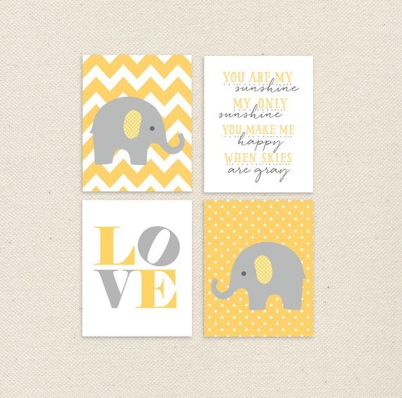 50 off yellow and gray nursery art yellow elephants nursery for Home decor 50 off