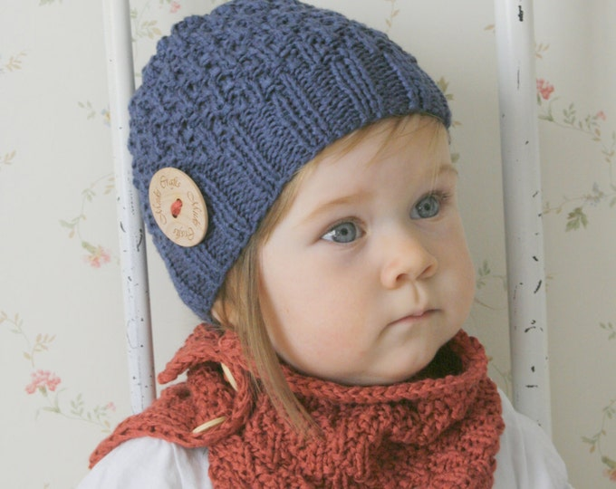 KNITTING PATTERN beanie hat and cowl set Eti (baby, toddler, child, adult sizes)