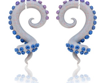 Fake Gauges or Ear Gauges, Sparkling Fake Gauges, Octopus Fake Gauge Earrings, Ear Plugs, 6g 5g 4g 3g 2g 1g 0g 00g 716 12 916 58 1116 34